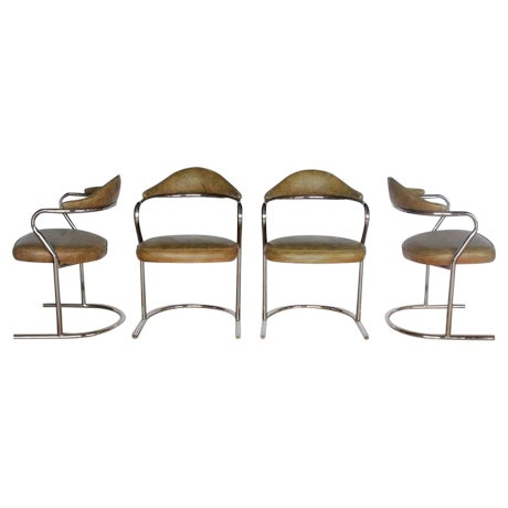1950's Vintage Chrome Armchairs- Set of 4 For Sale