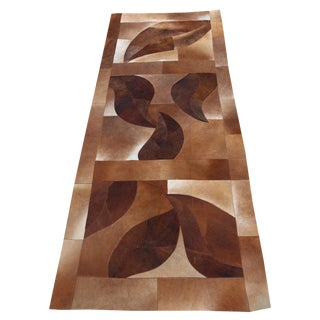 Premium Hand-Made Modern Cowhide Runner - 3′ × 8′ For Sale