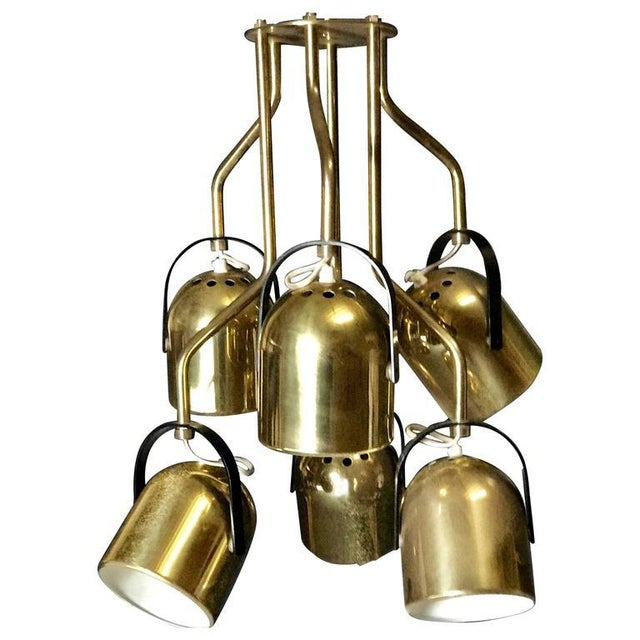 Gold Italian 1970s Brass Pendant Light For Sale - Image 8 of 8