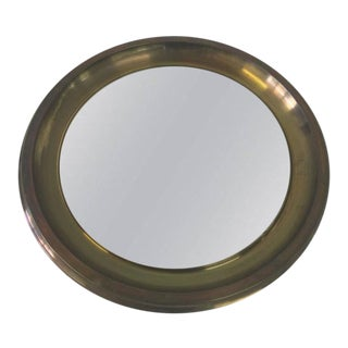 Oversized Italian Brass Mirror by Sergio Mazza for Artemide