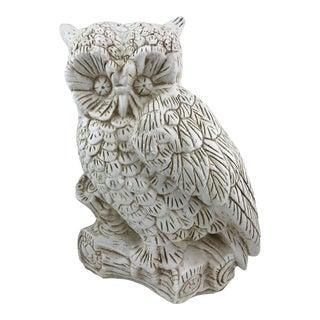 Vintage Chalkware Owl Statue