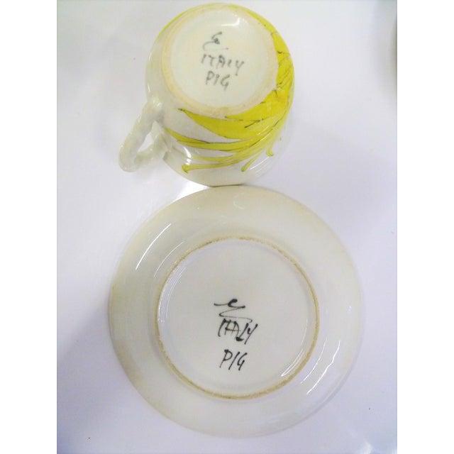 Modern Ernestine Ceramics, Salerno, Italy 1960s, 5 Cups Saucers Plus Creamer Chrysantemum Pattern - Set of 12 For Sale - Image 10 of 12