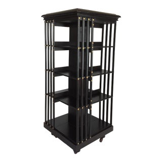 1870s English Empire Style Revolving 4 Tier Bookshelf For Sale