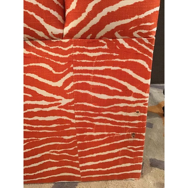 Zebra Print Upholstered Queen Size Headboard For Sale - Image 4 of 5