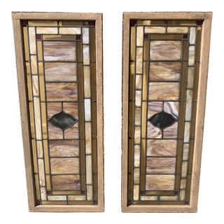 Turn of the Century Stained & Leaded Slag Glass Windows or Transoms - a Pair For Sale