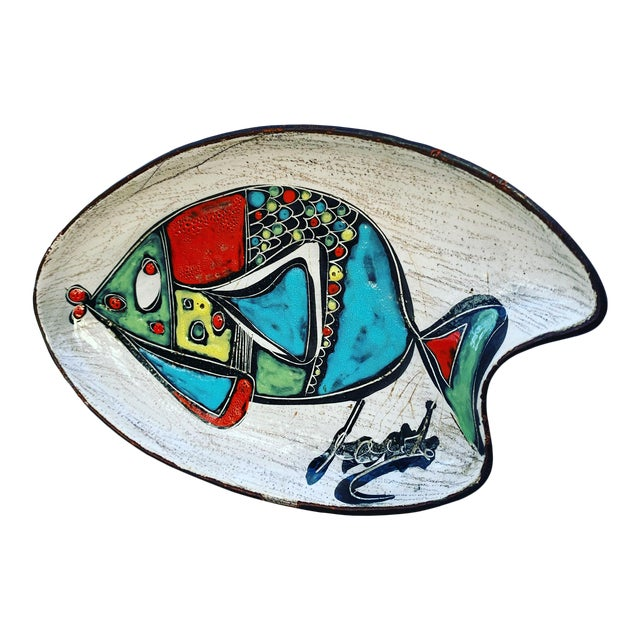 Leather Wrapped Ceramic Hand-Painted Tray in the Style of Marcello Fantoni For Sale