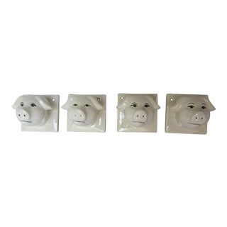 Pigs Ceramic Kitchen Towel Holders - Set of 4 For Sale