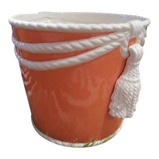 Fitz and Floyd Style Orange and White Ceramic Tassel Rope Ice Bucket Vase For Sale