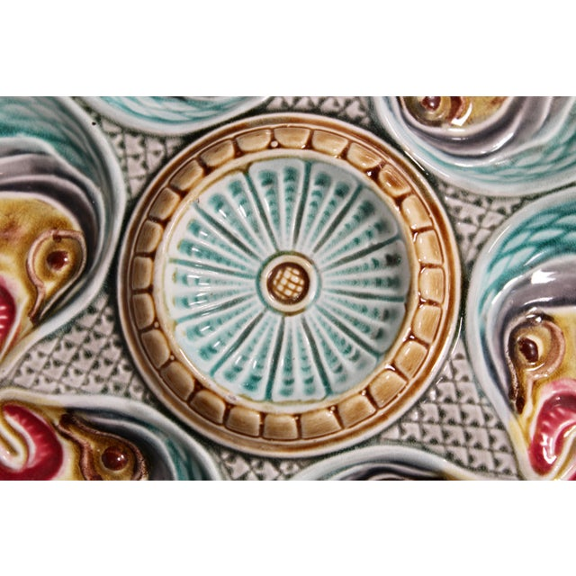 Majolica Fish Heads Oyster Plate by Onnaing, 1800s For Sale - Image 10 of 13