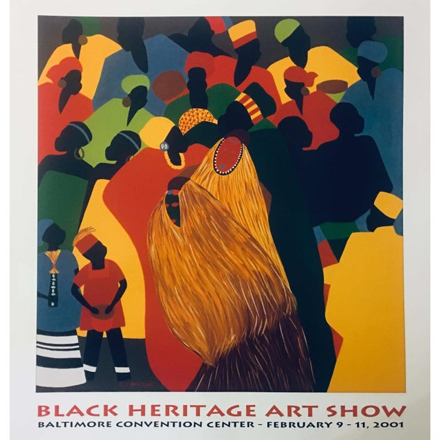 """A vibrant print of artist Synthia Saint James' 1996 painting """"Celebration"""" presented as a poster for the 2001 Black..."""