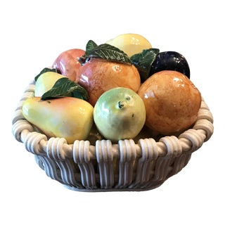 Spanish Ceramic Textured Fruit Basket For Sale