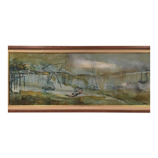 Mid-Century Original Abstract Expressionist Oil Painting of Ships in Port by Burton For Sale