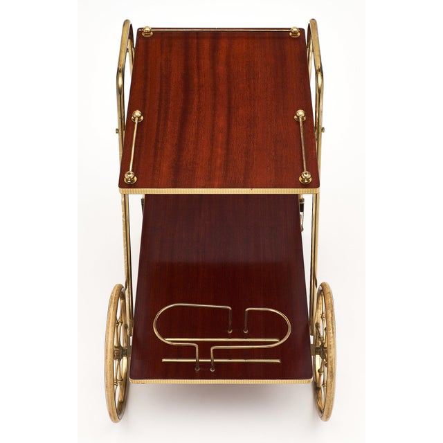 1940s French Art Deco Period Rosewood and Brass Bar Cart For Sale - Image 5 of 10