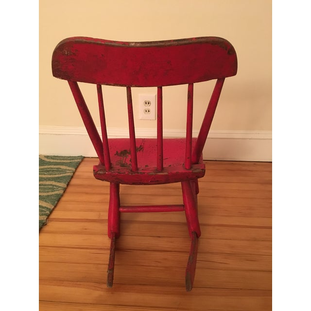 Early 19th Century Child's Rustic Red Wooden Rocking Chair For Sale - Image 4 of 10