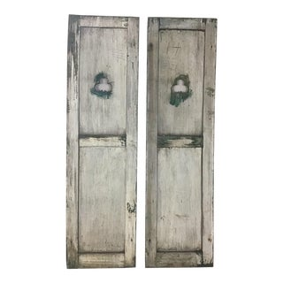 Antique Rustic Shutters With Shamrock Cut Out - Set of 2 For Sale