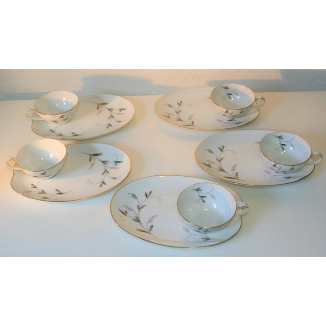 Asian Vintage Noritake China Oval Snack Plates With Cups - 10 Pc. Set For Sale - Image 3 of 9