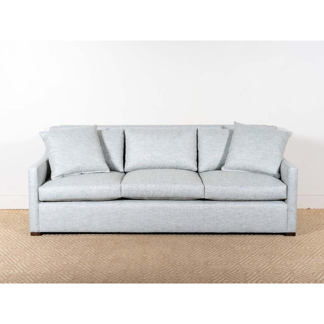 Upholstered sofa Fabric: Ragner Mist- 100% Polyester Microdown seat cushions and back pillows Two 22x22 throw pillows...