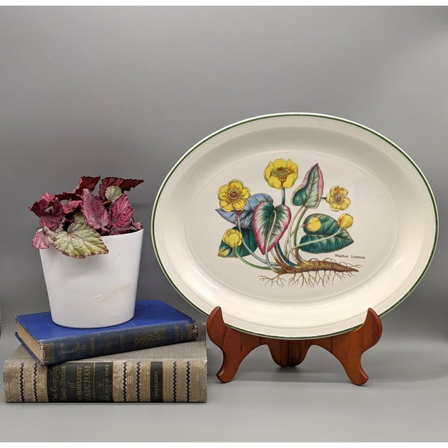 Stunning white platter with gorgeous botanical flower design. Beautiful colors and stunning details make this an eye-...