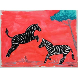 Chinoiserie Zebra Safari Painting by Cleo Plowden For Sale