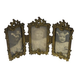 Antique French Bronze Tri-Folding Picture Frame For Sale