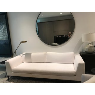 Restoration Hardware Modern 8' Italia Taper Arm White Fabric Sofa For Sale