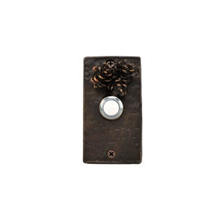 Rectangle Western Hemlock Doorbell-3 Cones, Traditional Patina For Sale