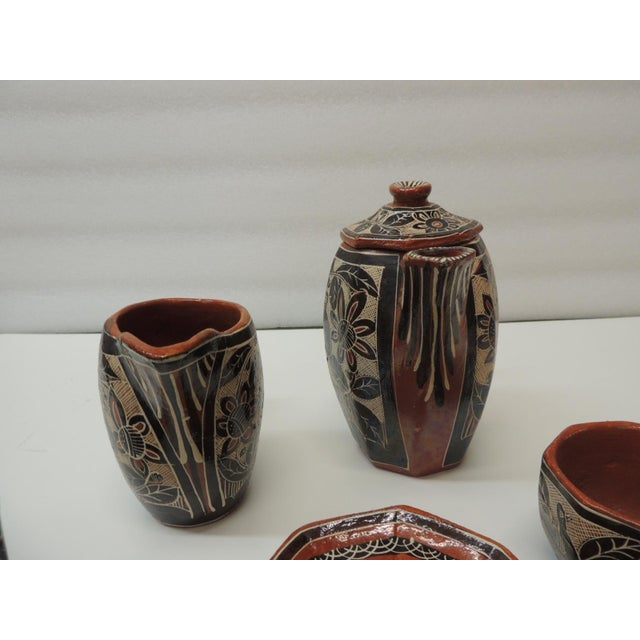 1980s Vintage Brown and Orange Talavera Mexican Terracotta Artisanal Coffee Set For Sale - Image 5 of 7