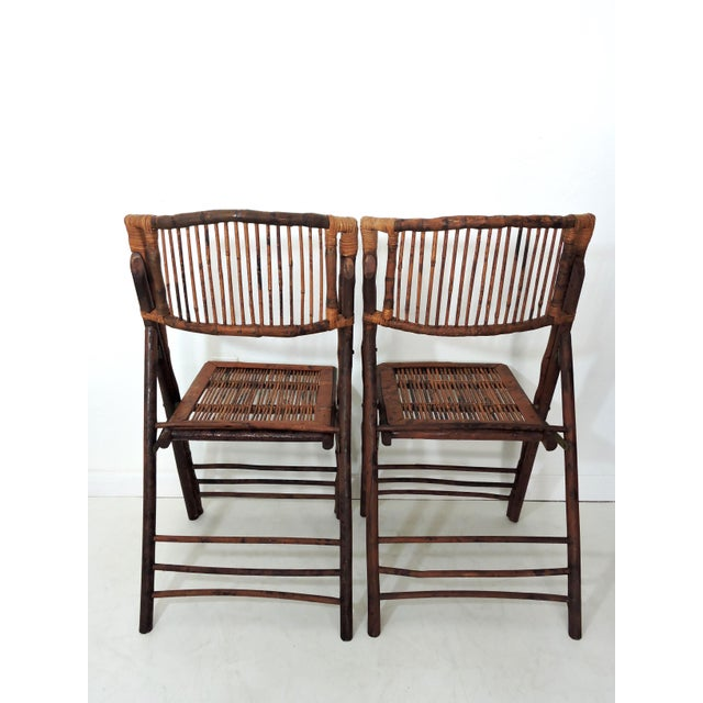 Late 20th Century Vintage Folding Bamboo & Cane Dining/Side Chairs - a Pair (4 Pairs Avialable) For Sale - Image 5 of 8