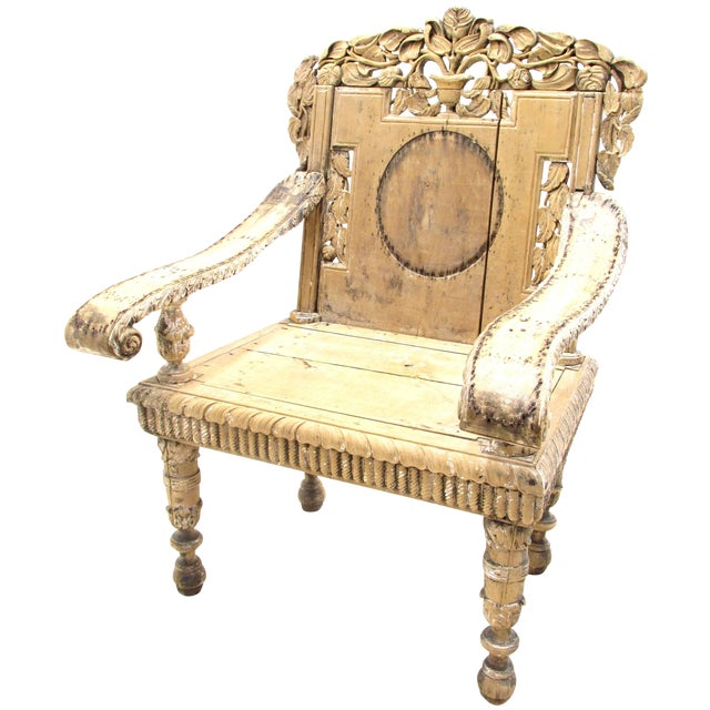 Antique Weathered India Throne Chair For Sale - Antique Weathered India Throne Chair Chairish
