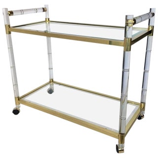 Charles Hollis Jones Stylized Bamboo Lucite and Brass Bar Cart For Sale