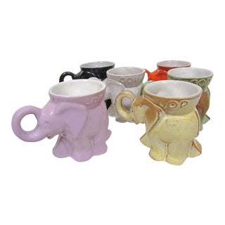 Frankoma Pottery Gop Republican Elephant Mugs - Set of 6 For Sale