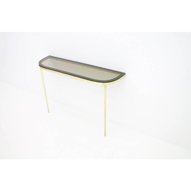 Hollywood Regency Solid Brass and Glass Wall Console, 1960s For Sale - Image 3 of 10