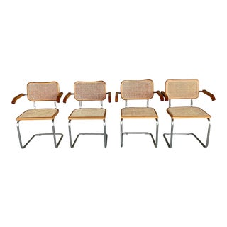 Vintage Marcel Breuer Cane Dining Chairs With Arms-Set of 4 For Sale