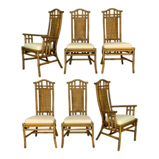 Bamboo Pagoda Dining Chairs by McGuire, Set of Six For Sale