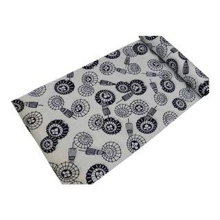 Japanese Navy Blue White Cotton Fabric Black Calligraphy Summer Kimono One Bolt Unstitched Vintage Umbrella Rain For Sale