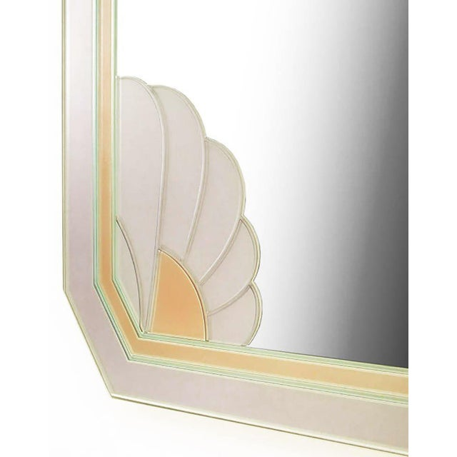 Art Deco Art Deco Revival Lavender and Rose Etched Glass Mirror For Sale - Image 3 of 5