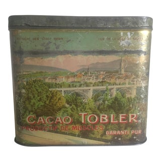 Early 1900s Swiss Cacao Tobler Tin Box For Sale
