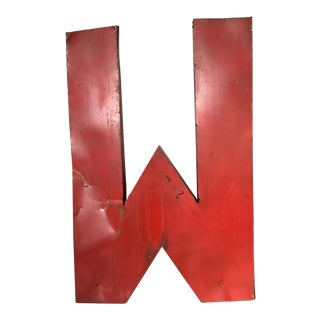 Large 3 Dimensional Red Metal Letter M or W For Sale