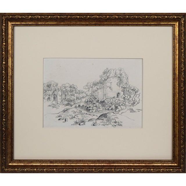 """19th Century Antique """"Castle Ruins"""" Graphite Landscape Drawing For Sale"""