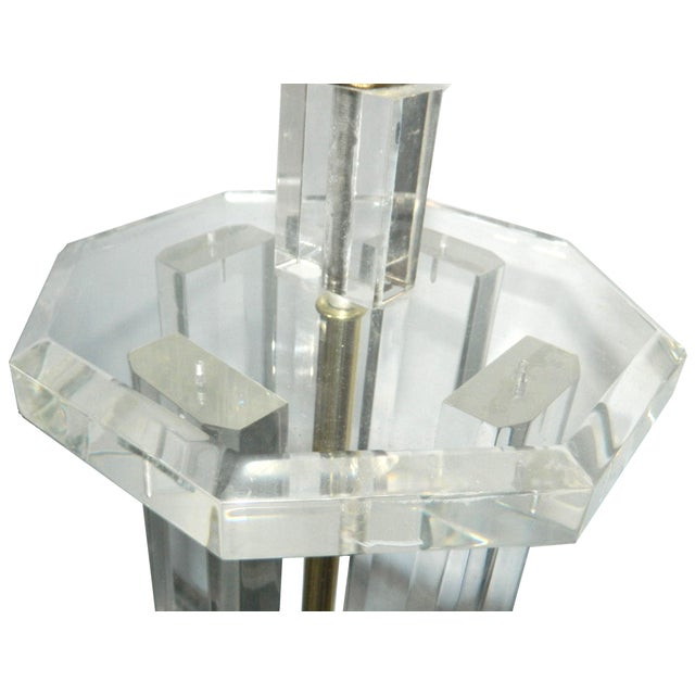 Octogonal Lucite Table Lamp - Image 2 of 3