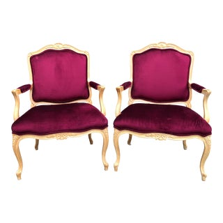 Traditional Henredon Upholstery Collection Velvet Armchairs - a Pair For Sale