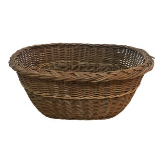 Vintage Oval Small Laundry Basket For Sale