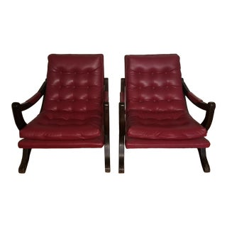 Vintage Mid-Century Low-Slung Leather Chairs - A Pair For Sale