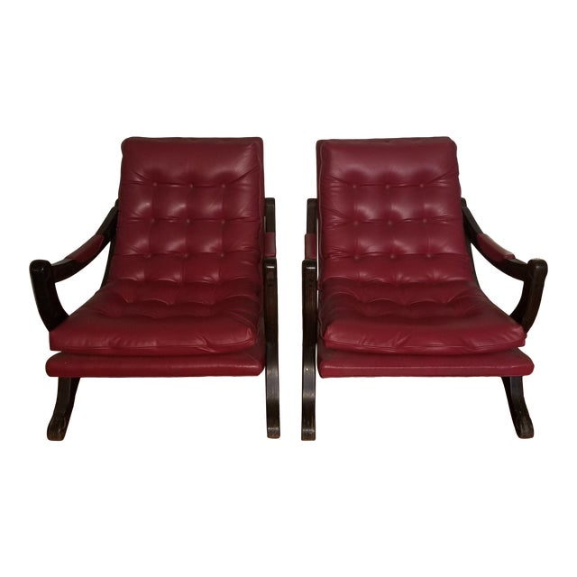 Vintage Mid-Century Modern Tufted Sling Chairs (A Pair) For Sale