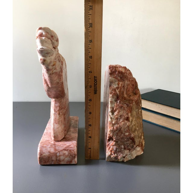 Vintage Large Pink Marble Horse Bookend Stone Bookends For Sale - Image 4 of 6