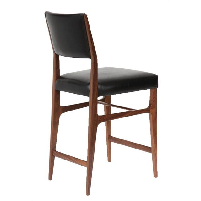 2010s Set of Seven Maze Walnut Counter Stools For Sale - Image 5 of 6