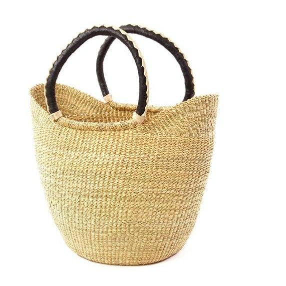 African African Bolga Ghana Woven Yikene Basket Beach Bag U Shopper With Black Handles For Sale - Image 3 of 3