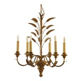 Image of Vintage Italian Wood & Iron Chandelier For Sale
