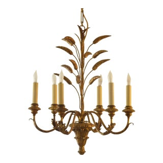 Vintage Italian Wood & Iron Chandelier For Sale