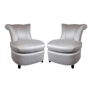 1940s Hollywood Regency Dorothy Draper Grey Slipper Chairs - A Pair For Sale